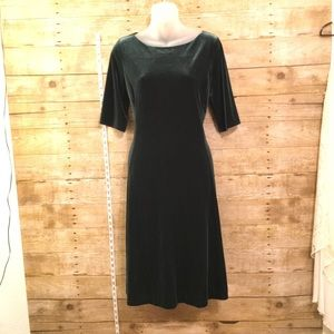 Green Velvet A-Line Dress, M, by Lands End